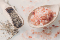 Himalayan salt and pepper on the wooden spoons and white table Stock Photography