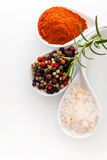 Himalayan salt and peppercorns Stock Photo