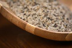 Himalayan salt on spoon Royalty Free Stock Images