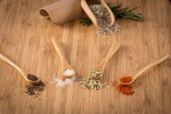 Himalayan salt on spoons Stock Image