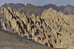 Himalayan scenic with mysterious rocks formations. Along Stok Kangri peak, Ladakh, India stock photos