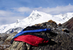 Himalayan sleeping bags. 2 sleeping bags drying in the Himalayan sunshine Royalty Free Stock Image