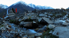 Himalayan Stream, with Tibetan Temple, Sangla Valley, India Stock Photography