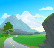 Himalayan terrain and winding road Stock Photo