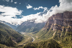 Himalayan valley with river coming through the mountains. View from the trekking at Annapurnas circuit, Nepal Royalty Free Stock Photos