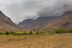 Himalayan village. In a desert valley, Spiti, Himachal Pradesh, India Royalty Free Stock Photo