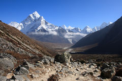 Himalayas 1. A view towards the mountain peaks of the Himalayas Royalty Free Stock Images