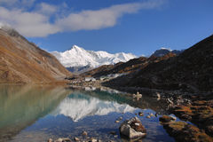 Himalayas, Gokyo. Himalayas - Mountain village - Gokyo, Nepal. In the background is Mt. Cho Oyu - 8,201 m stock photo