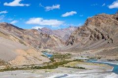 Himalayas along Manali-Leh highway. Himachal Pradesh, India. Himalayan landscape in Himalayas along Manali-Leh highway. Himachal Pradesh, India Royalty Free Stock Photos
