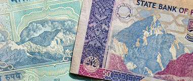 Himalayas on Banknotes Royalty Free Stock Photos