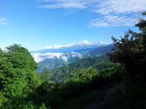 The Himalayas. Ever snow-capped mountain range in the morning sun Royalty Free Stock Photography