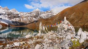 Mountains, Autumn, Everest, Himalayas. Himalayas. Fascinating lake, mountains and landscape in autumn colours. Everest Region, Nepal Royalty Free Stock Image