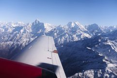 Himalayas. Flight over the Himalayas, Nepal Stock Photo
