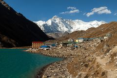 Himalayas. Gokyo Ri, Mountains of Nepal, snow covered high peaks and lake not far from Everest. Royalty Free Stock Photography