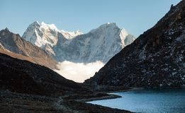 Himalayas. Gokyo Ri, Mountains of Nepal, snow covered high peaks and lake not far from Everest. Royalty Free Stock Photo