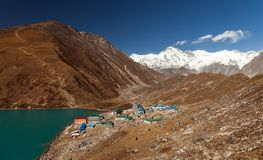 Himalayas. Gokyo Ri, Mountains of Nepal, snow covered high peaks and lake not far from Everest. Stock Photo