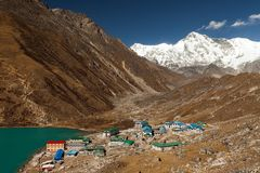 Himalayas. Gokyo Ri, Mountains of Nepal, snow covered high peaks and lake not far from Everest. Stock Image