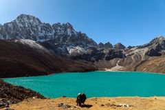 Himalayas. Gokyo Ri, Mountains of Nepal, snow covered high peaks and lake not far from Everest. Stock Photos