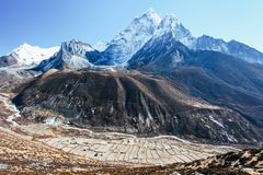 Himalayas. Great mountain views of Himalayas in Nepal trekking on the way to Everest base camp Royalty Free Stock Photos