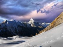 Himalayas, High Peaks Snow Mountains Landscape, Nepal stock photos