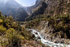 Himalayas, Marsyangdi mountain river valley, Nepal, Annapurna conservation area royalty free stock images
