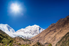 Himalayas mountain landscape with monastery Royalty Free Stock Images