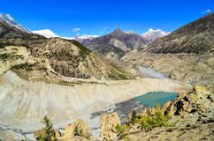 Himalayas mountain peaks and lake Stock Photo