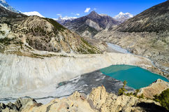 Himalayas mountain range and lake, Gangapurna, Nepal Royalty Free Stock Image