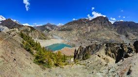 Himalayas mountain range panorama with village Royalty Free Stock Images