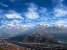 Himalayas mountain range from Sarangkot Hill in Pokhara, Nepal. Panorama of Himalayas - view from Sarangkot Hill in Pokhara, Nepal royalty free stock photos