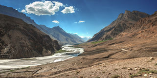 Himalayas. Mountain and river in summer time Stock Photos