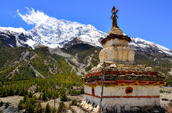 Himalayas mountain view with buddhist chapel stupa Stock Images