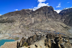 Himalayas mountain village on the hills Stock Photo