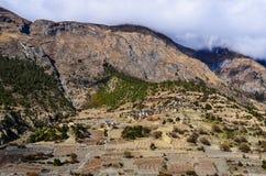 Himalayas mountain village Upper Pisang, Annapurna area Royalty Free Stock Image