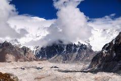 Himalayas Mountains Glacier Landscape. Ngozumpa Glacier in Nepali Himalayas landscape Stock Photo