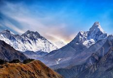 Himalayas Mountains, High Peaks Glacier, Nepal Stock Images