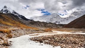 Himalayas Mountains, High Peaks Glacier, Nepal Royalty Free Stock Images