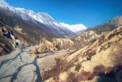 Himalayas mountains and Marsyangdi river Royalty Free Stock Photography