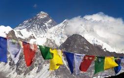 Himalayas mountains and Mount Everest with prayer flags Stock Photos