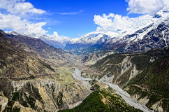 Himalayas mountains river valley with white peaks Stock Photo