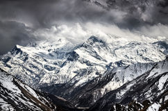 Himalayas mountains scenic view with dramatic sky royalty free stock images