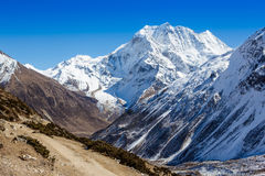 Himalayas mountains in sunlight. With deep blue sky Royalty Free Stock Image