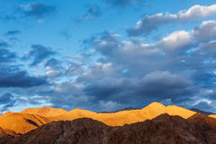 Himalayas mountains on sunset Stock Photo