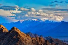 Himalayas mountains on sunset Royalty Free Stock Photo