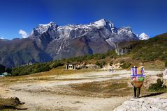 Himalayas Nepal Everest Mountains Trail Royalty Free Stock Image