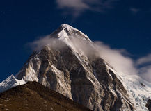Himalayas at night. Everest region, Nepal. Himalayas at night. Mt. Pumori (Pumo Ri). Everest region, Nepal Stock Photo