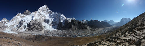Himalayas. Panoramic view of Mount Everest, Lhotse and Nuptse Stock Images