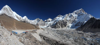 Himalayas. Panoramic view of Mount Everest, Lhotse and Nuptse Royalty Free Stock Photography