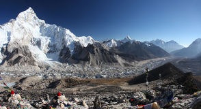 Himalayas. Panoramic view of Mount Everest, Lhotse and Nuptse Royalty Free Stock Photo