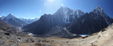 Himalayas. Panoramic view of Mount Everest, Lhotse and Nuptse Stock Image